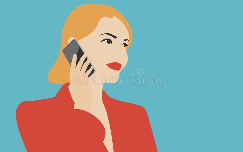 Mulher que fala na ilustração do telefone celular ilustração do vetor