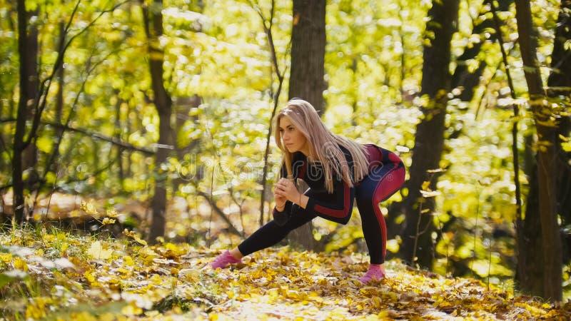 A mulher que faz a aptidão exercita exterior Esticão fêmea na menina magro da floresta do outono no exercício - ocupas para o lad foto de stock royalty free