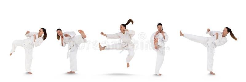 Mulher que faz a colagem das artes marciais imagem de stock royalty free