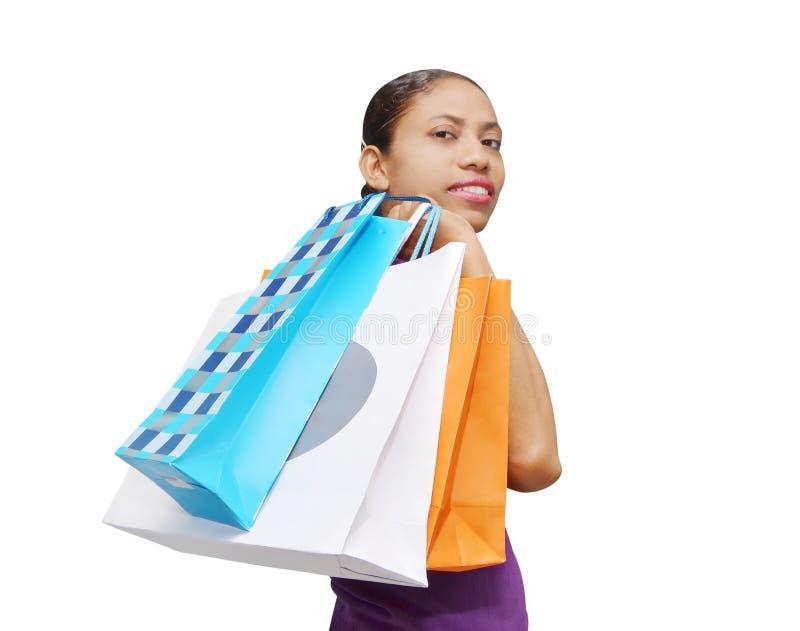 Mulher que faz a compra imagem de stock