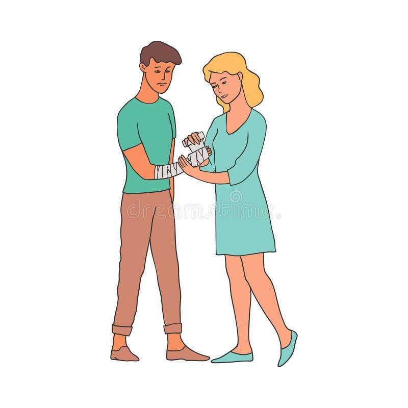 Mulher que faz a ilustração do vetor da atadura - braço do envoltório da moça do menino com rolo ilustração do vetor