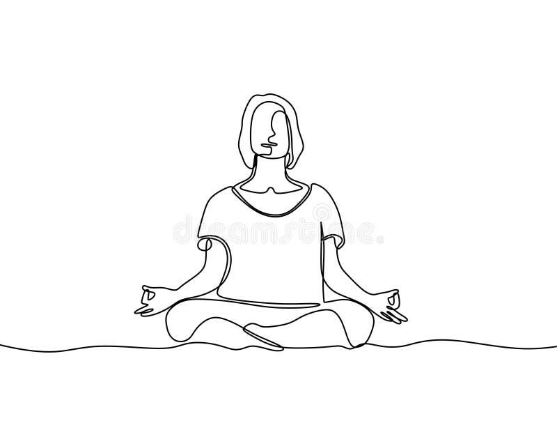 Mulher que faz linha contínua estilo do exercício da ioga a uma do minimalismo da ilustração do vetor ilustração do vetor