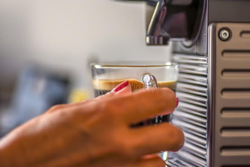 Mulher que faz o copo do cappucino na manhã - foco macio para o efeito imagem de stock royalty free