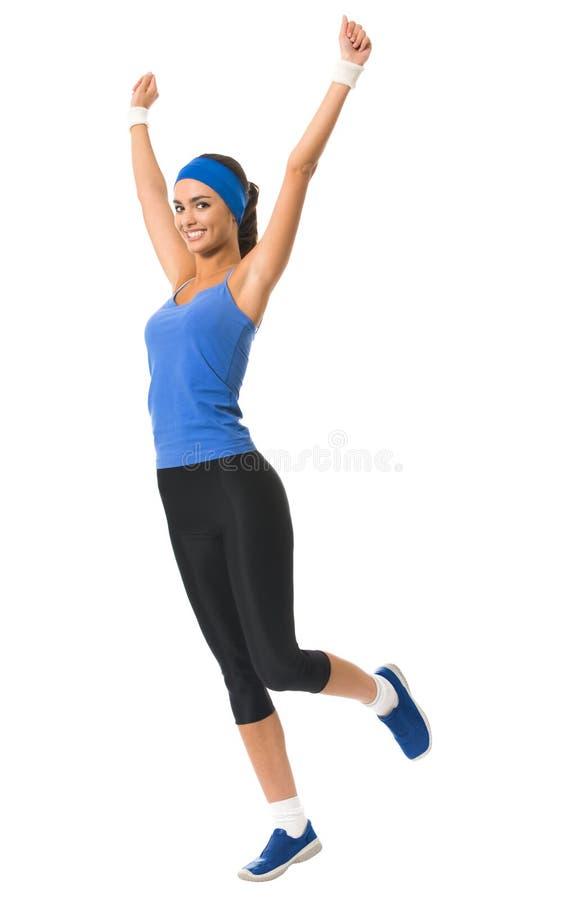 Mulher que faz o exercício da aptidão, isolado imagem de stock