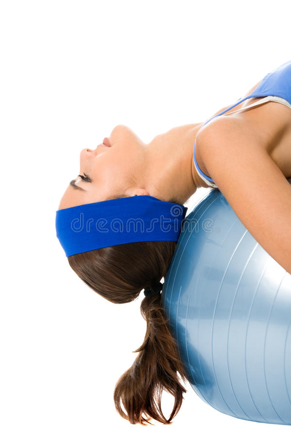 Mulher que faz o exercício da aptidão, no branco imagem de stock