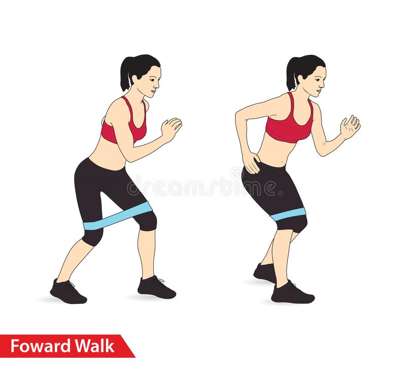 Mulher que faz o exercício dianteiro da caminhada com trituração da faixa da resistência para o guia do exercício ilustração do vetor