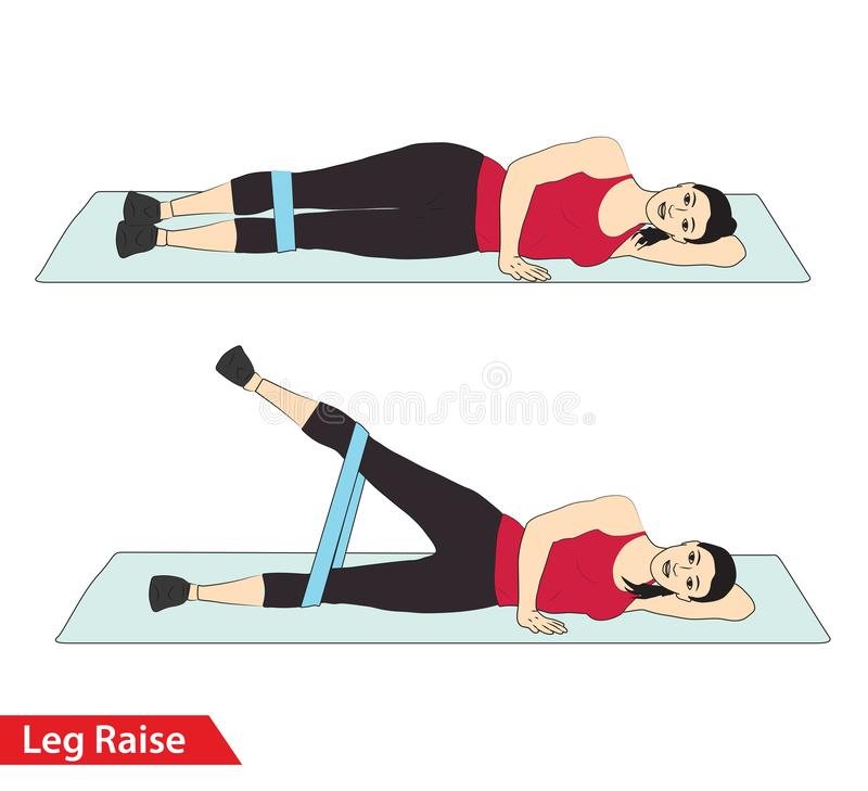 Mulher que faz o exercício do aumento do pé com trituração da faixa da resistência para o guia do exercício ilustração royalty free