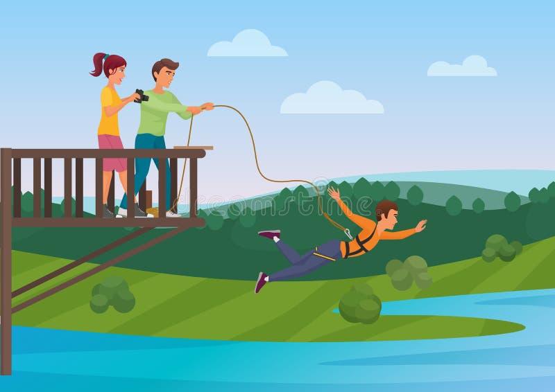 A mulher que faz o tirante com mola que salta com os amigos vector a ilustração ilustração royalty free
