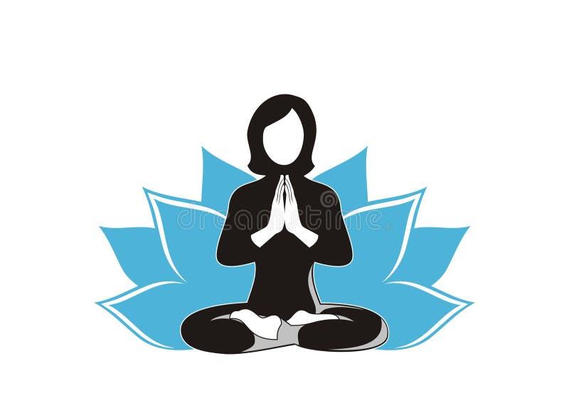 Mulher que faz o vetor do projeto da ioga ilustração do vetor