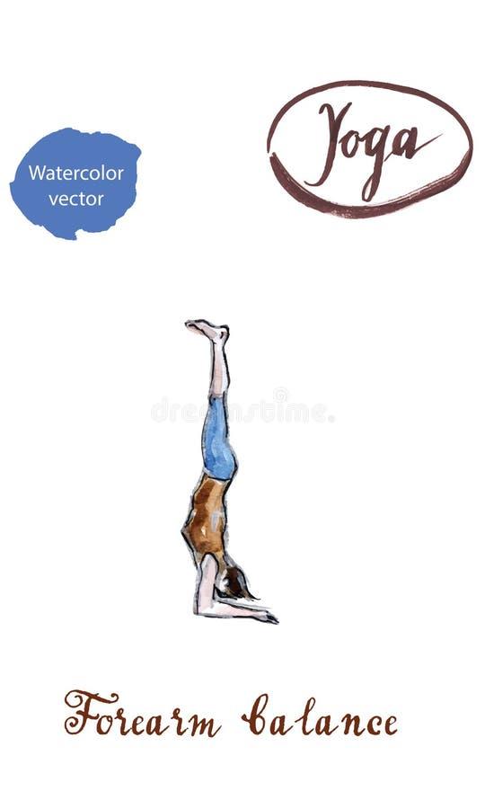 Mulher que faz a pose da ioga do equilíbrio do antebraço ilustração do vetor