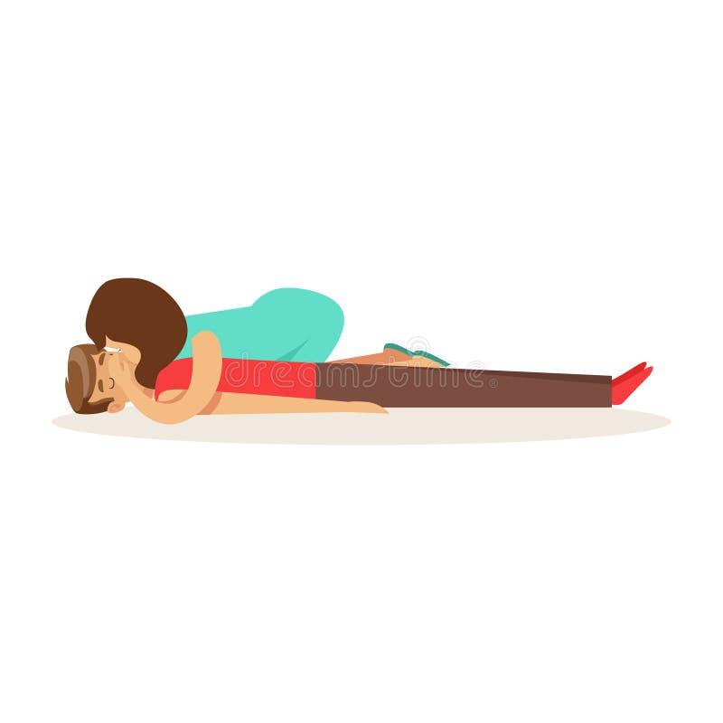 Mulher que faz a respiração artificial para o homem sem fôlego, ilustração do vetor dos primeiros socorros do procedimento da rea ilustração do vetor