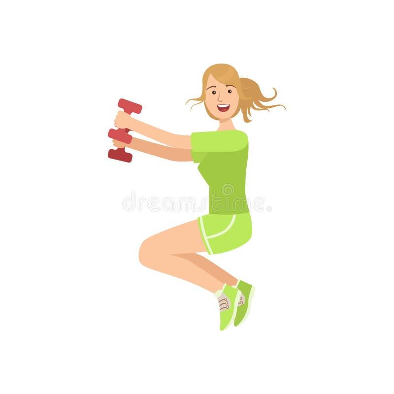 Mulher que faz Sentar-UPS no Gym ilustração stock
