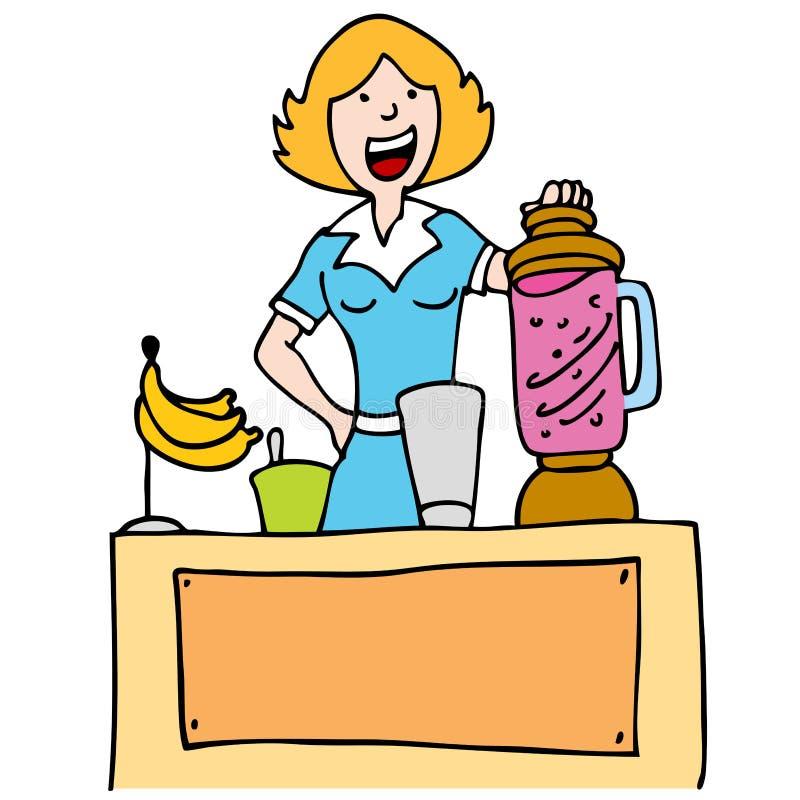 Mulher que faz um Smoothie da banana ilustração stock
