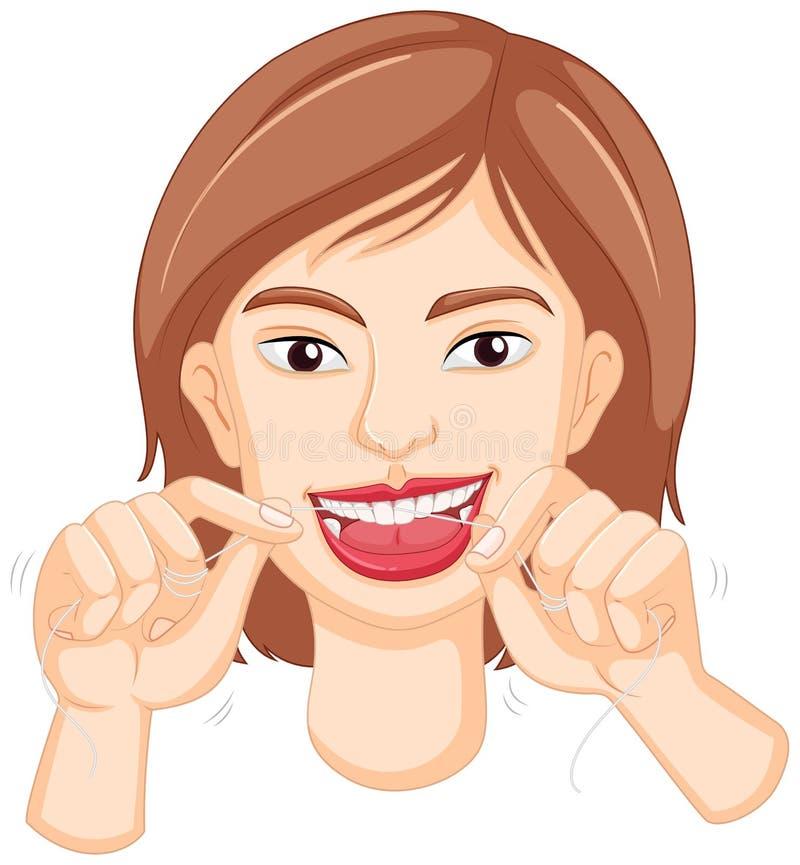 Mulher que flossing os dentes ilustração do vetor