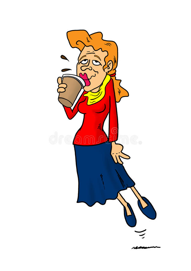 Mulher que flutua ao beber o café ilustração royalty free