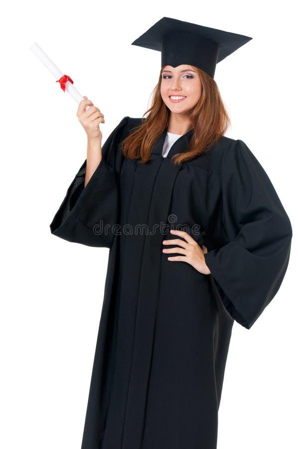 Mulher que gradua-se com diploma fotografia de stock royalty free