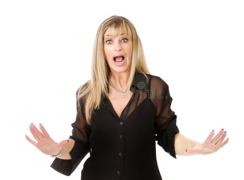 Mulher que grita fotos de stock royalty free