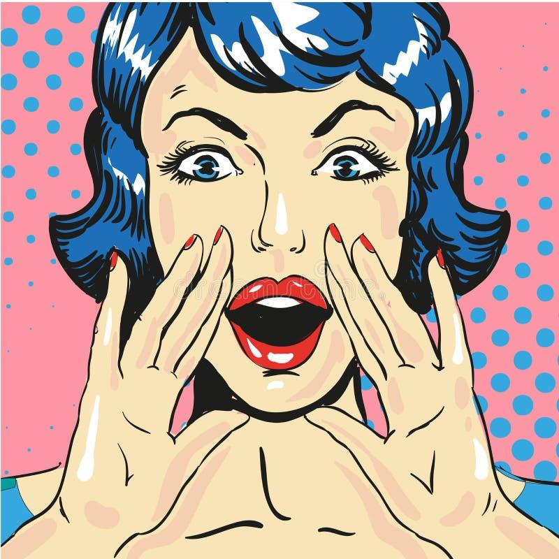 Mulher que grita anunciando o vetor cômico do estilo do pop art da notícia ilustração royalty free