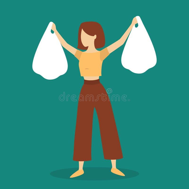 Mulher que guarda dois sacos de compras Conceito de Shopaholic ilustração royalty free