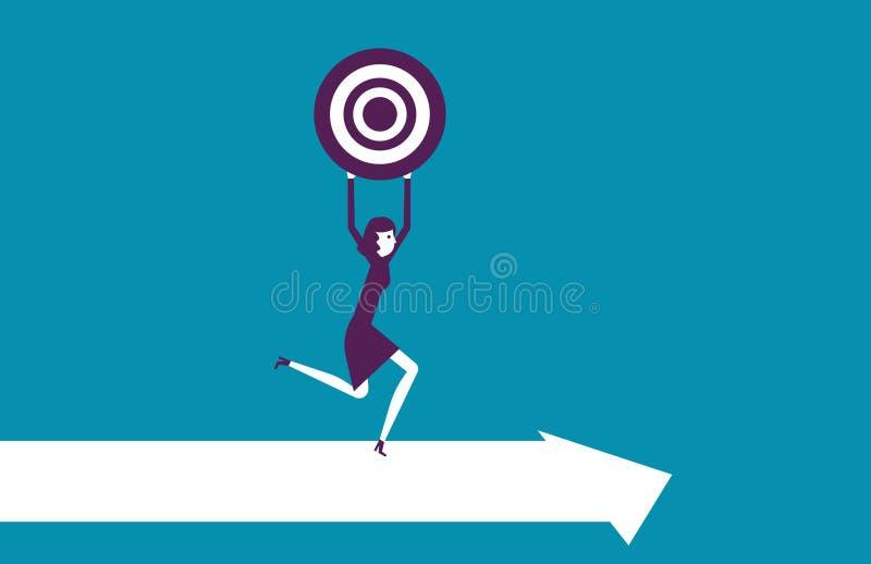 Mulher que guarda o alvo Conce do sucesso comercial da ilustração do vetor imagem de stock