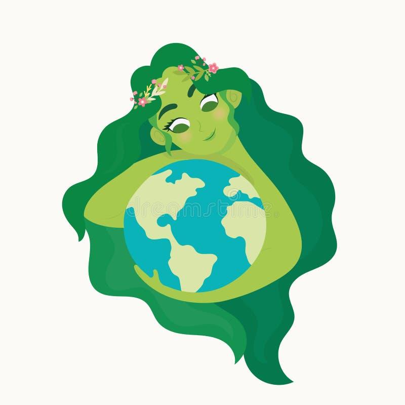Mulher que guarda o Dia da Terra do mundo da ecologia ilustração royalty free