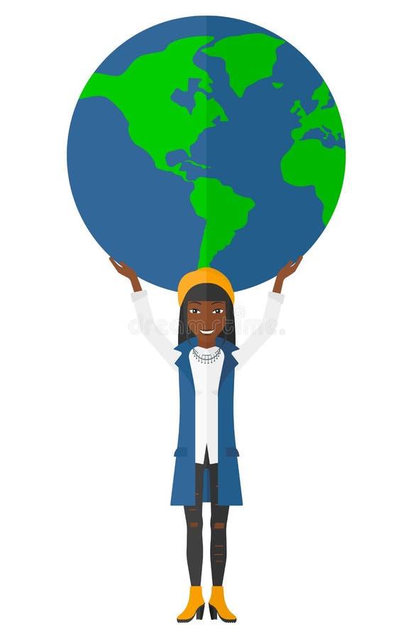 Mulher que guarda o globo ilustração do vetor