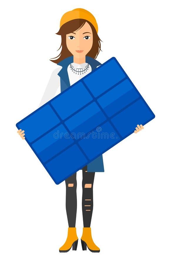 Mulher que guarda o painel solar ilustração stock