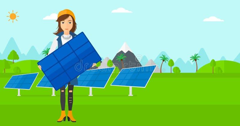 Mulher que guarda o painel solar ilustração do vetor