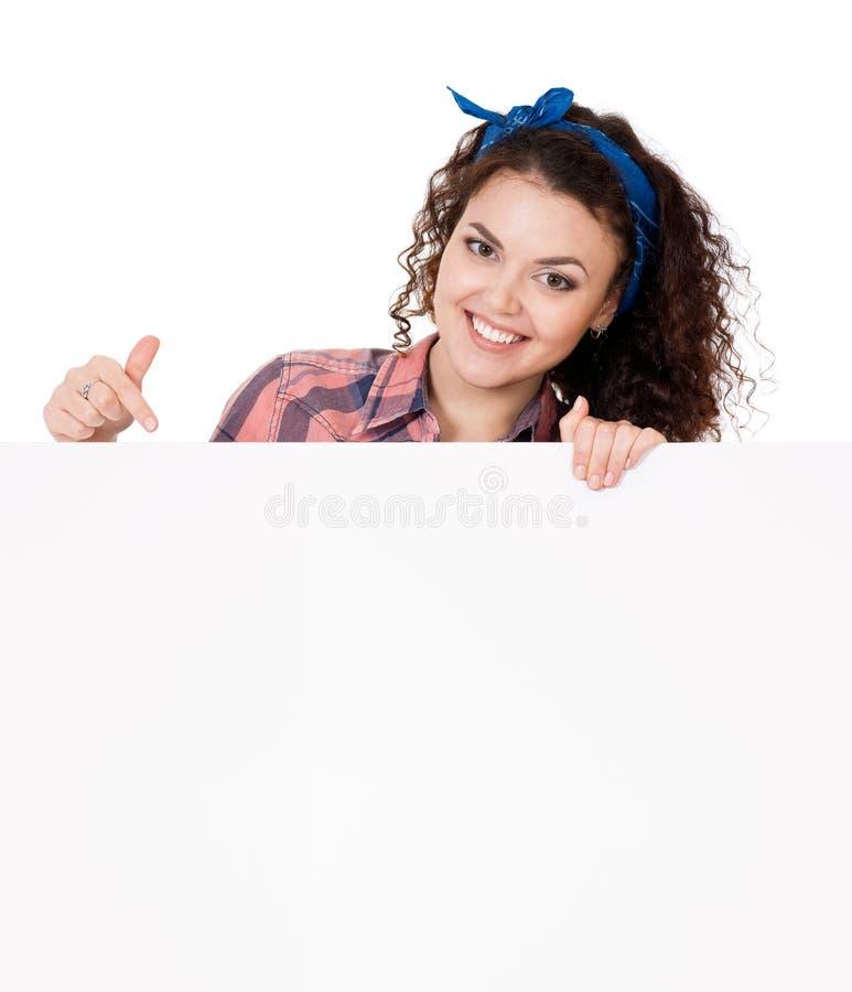 Mulher que guarda o quadro indicador imagens de stock royalty free