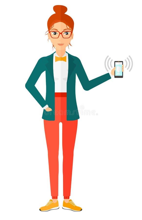 Mulher que guarda o telefone de soada ilustração royalty free