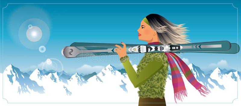 Mulher que guarda os esquis que descansam nas montanhas ilustração stock