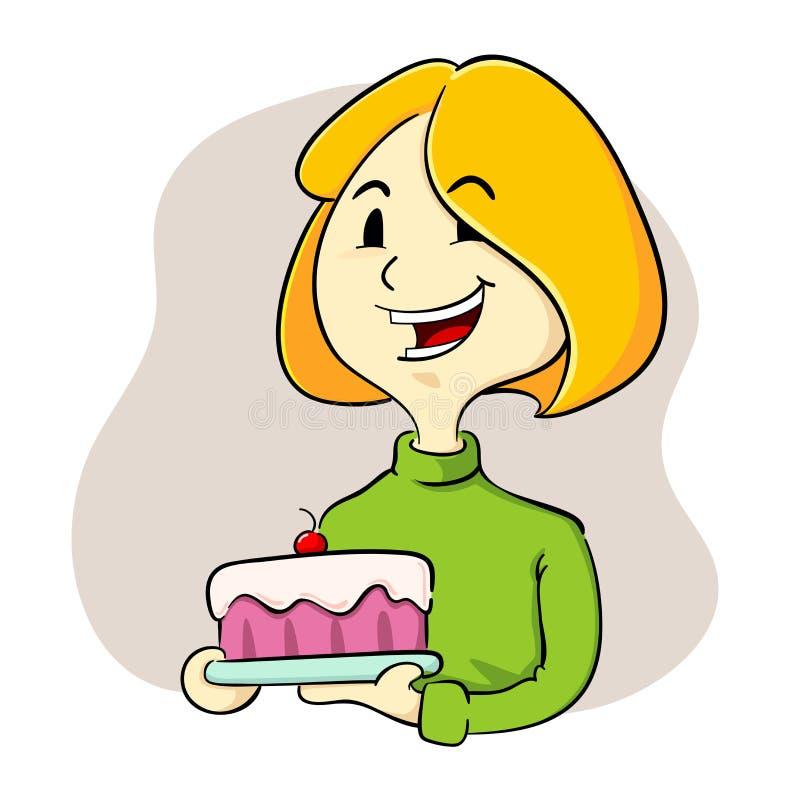 Mulher que guarda um bolo ilustração stock