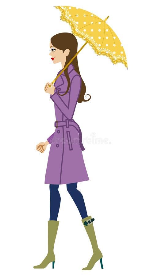 Mulher que guarda um guarda-chuva, vista lateral ilustração stock