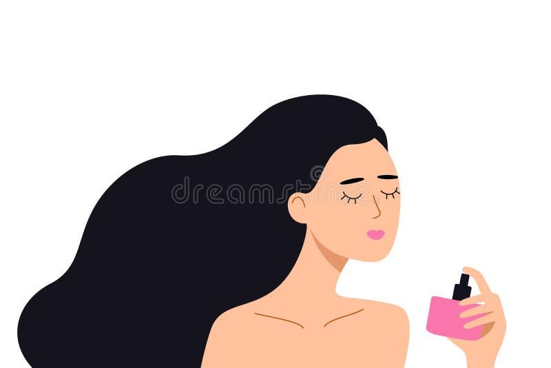 A mulher que guarda uma garrafa do perfume em sua m?o, aprecia o aroma da ?gua de toalete Ilustra??o lisa do vetor ilustração stock