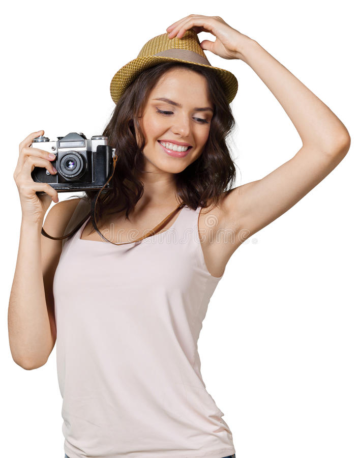 Mulher que guardara a câmera foto de stock