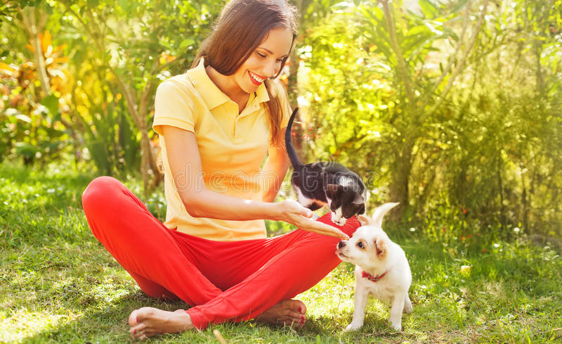 Mulher que joga com seus gato e cão fora imagem de stock