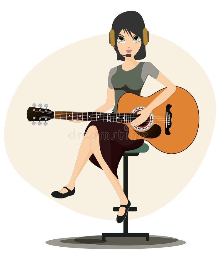 Mulher que joga a guitarra ilustração royalty free