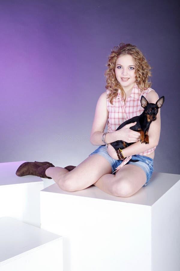 Mulher que levanta com o cão no cubo imagens de stock
