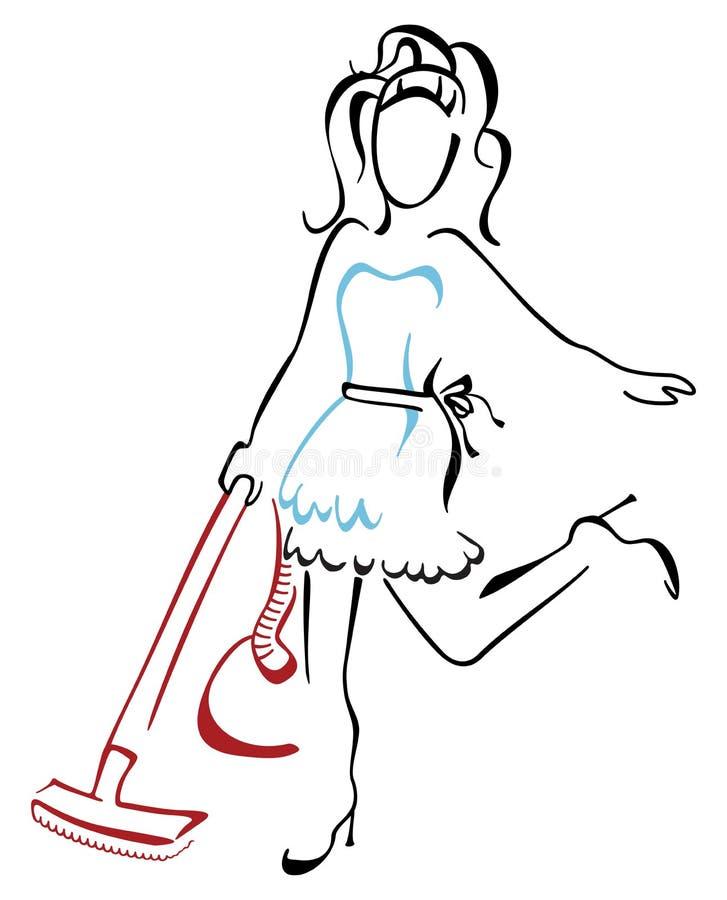 Mulher que limpa na casa ilustração do vetor