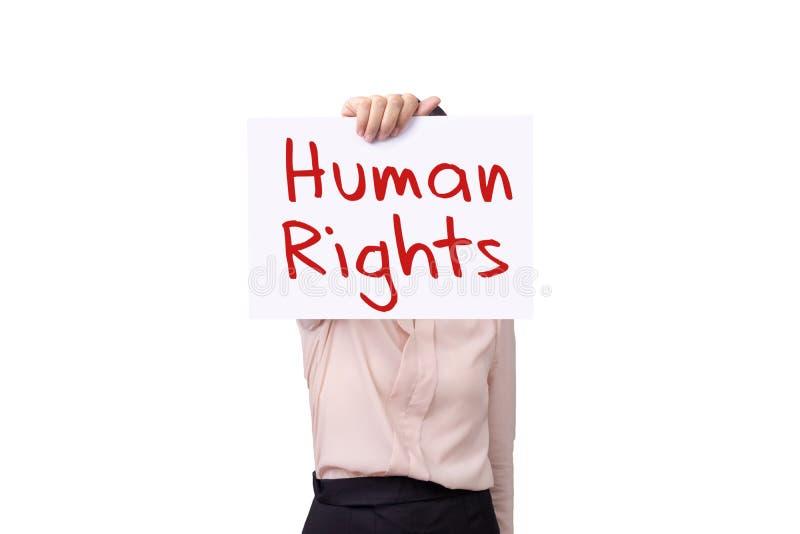 Mulher que mantém o papel do cartão com DIREITOS HUMANOS da mensagem isolado no fundo branco, conceito dos direitos humanos foto de stock