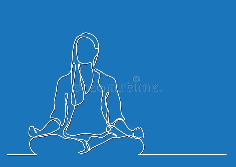 Mulher que medita - a lápis desenho contínuo ilustração stock