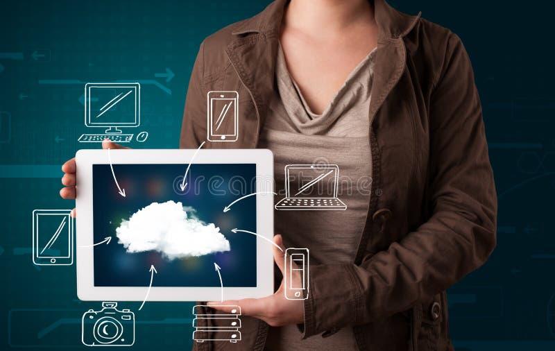 Mulher que mostra a computação tirada mão da nuvem fotos de stock
