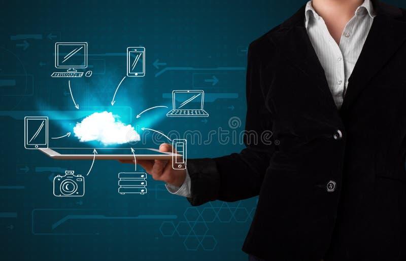 Mulher que mostra a computação tirada mão da nuvem imagem de stock royalty free