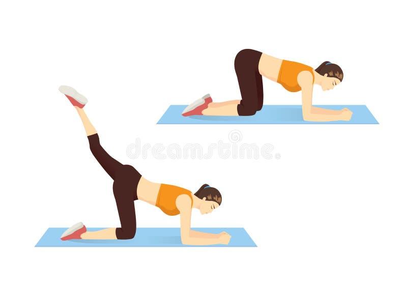 Mulher que mostra a etapa da coxa e do exercício anca com elevador reverso do pé ilustração do vetor