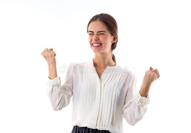 Mulher que mostra a felicidade imagens de stock royalty free