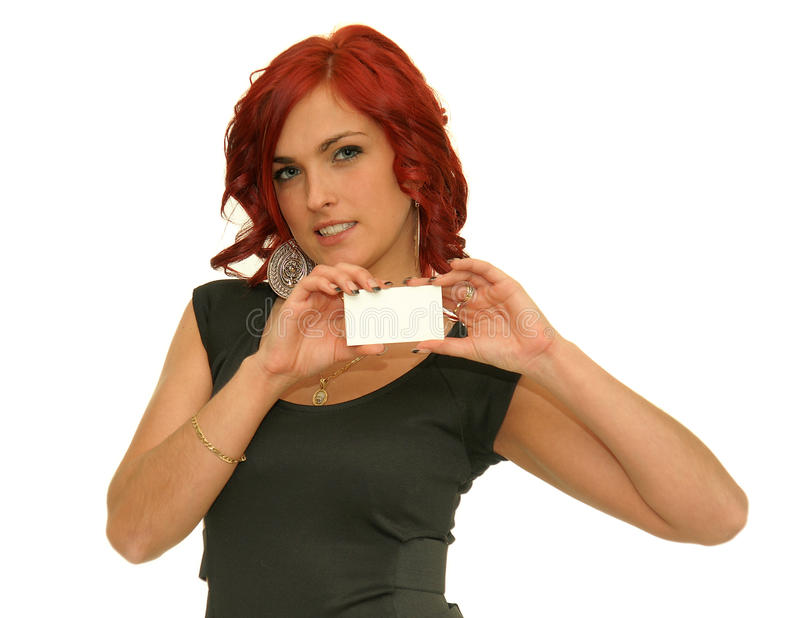 Mulher que mostra o cartão foto de stock royalty free