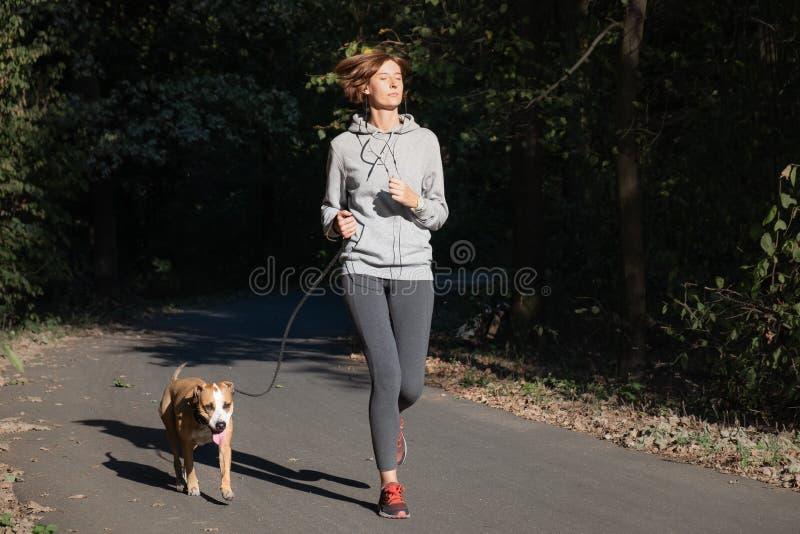Mulher que movimenta-se com cão em um parque Pessoa fêmea nova com animal de estimação d fotografia de stock