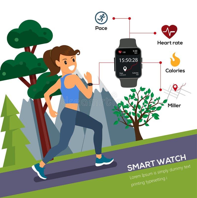 Mulher que movimenta-se e que corre para o estilo de vida do smartwatch do uso da saúde ilustração stock