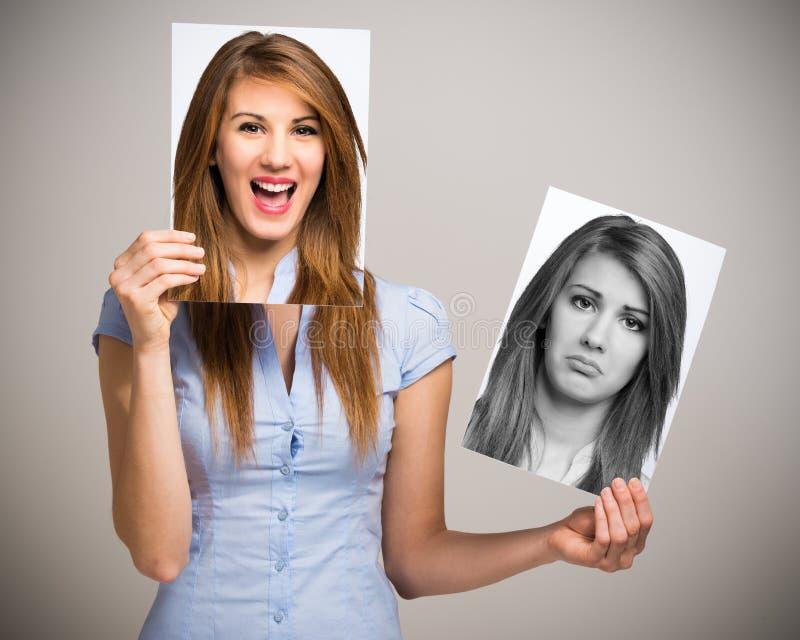 Mulher que muda seu humor imagens de stock royalty free