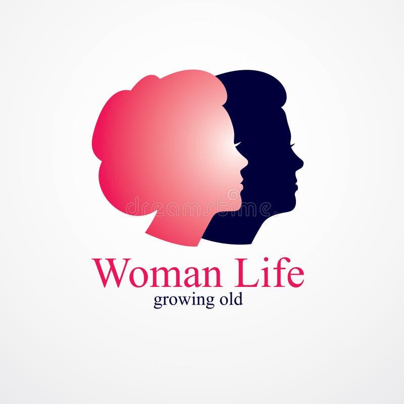 Mulher que obt?m a ilustra??o conceptual dos anos da idade avan?ada, da mulher ? av?, ao per?odo de envelhecimento e ao ciclo da  ilustração stock